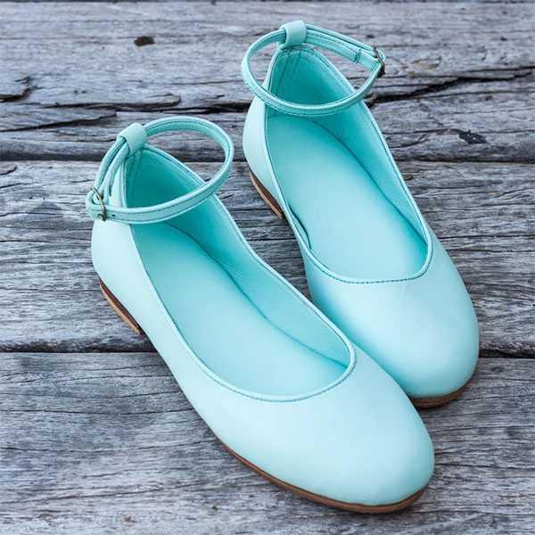 Голубые кожаные балетки