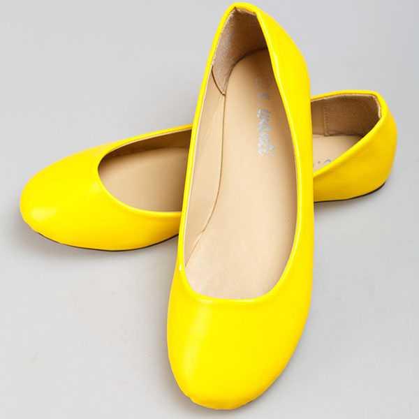 Жёлтые неоновые балетки