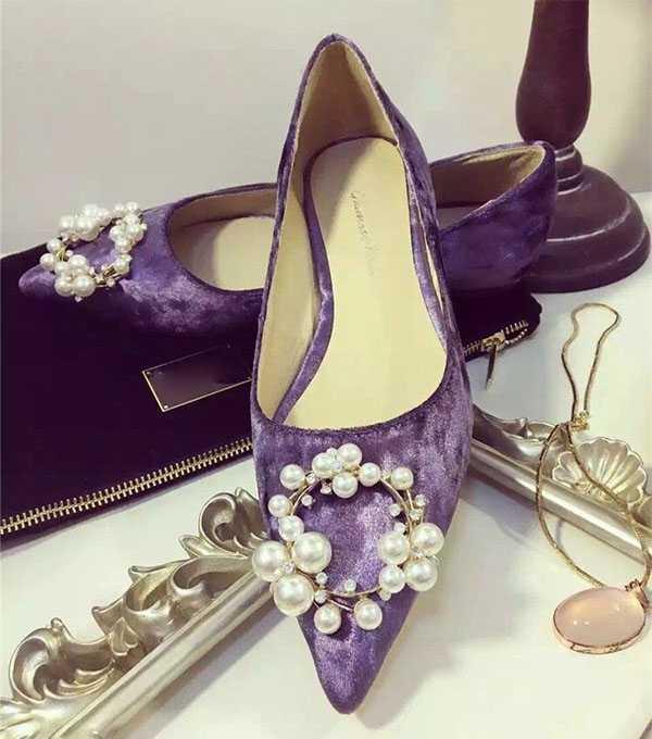 Фиолетовые балетки с декором