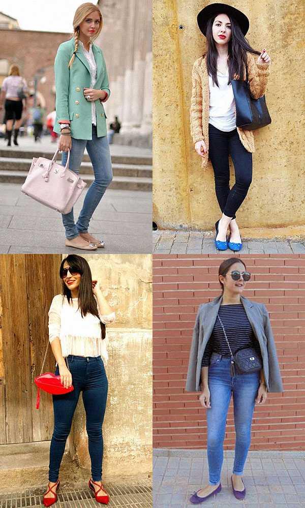 Балетки с узкими джинсами