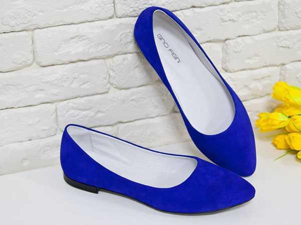 Синие остроносые балетки