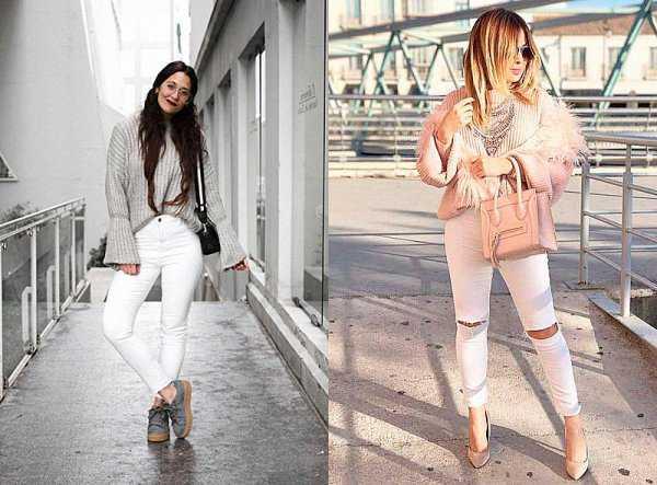 Осенние образы с белыми джинсами: фото 1