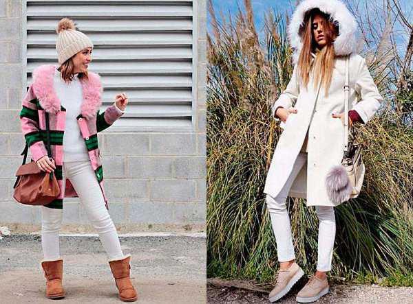 Зимние образы с белыми джинсами
