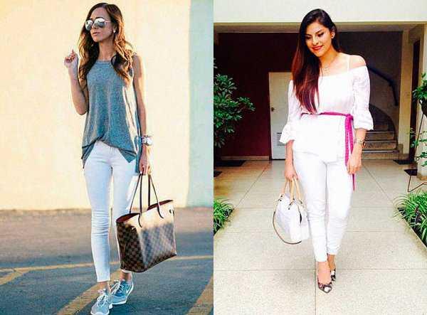 Летние образы с белыми джинсами: фото 4