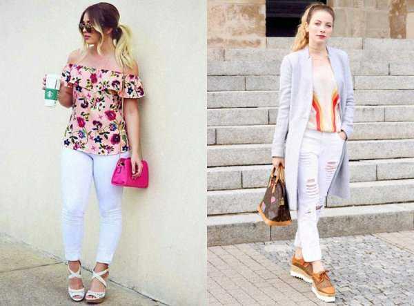 Белые джинсы сочетание с принтом