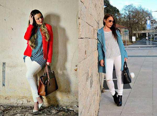 Белые джинсы и верх в полоску