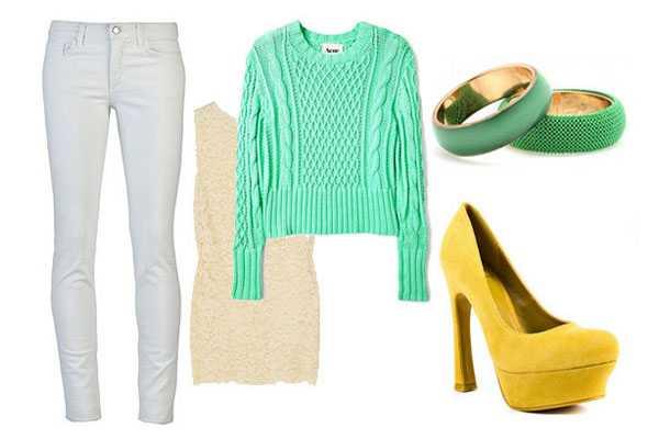 Белые джинсы с жёлтыми туфлями на высоком каблуке