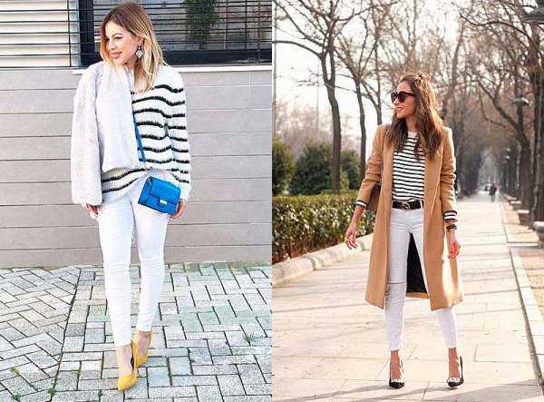 Белые джинсы с полосатым верхом