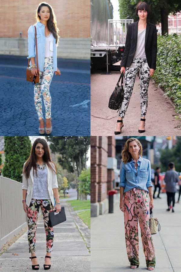 Образы в брюках с цветочным принтом: фото 3