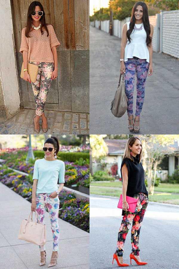 Образы в брюках с цветочным принтом: фото 4