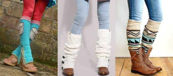 Вязаные гетры сочетание с обувью