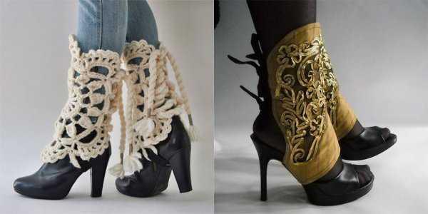 Ажурные гетры и обувь на каблуке