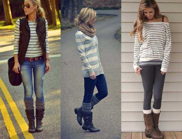 Гетры с джинсами и леггинсами