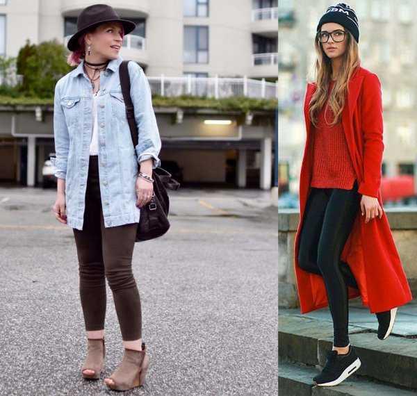 Леггинсы с джинсовкой и пальто