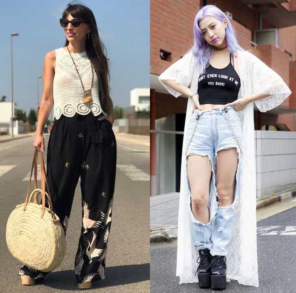 Платформа с брюками и рваными джинсами