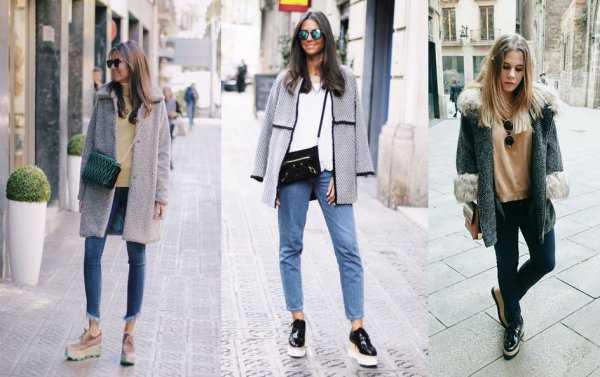 Оксфорды на платформе с джинсами