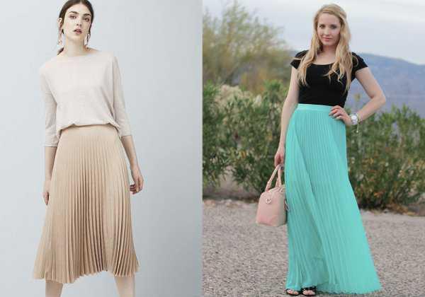 Плиссированная юбка с футболкой и кофточкой с рукавом