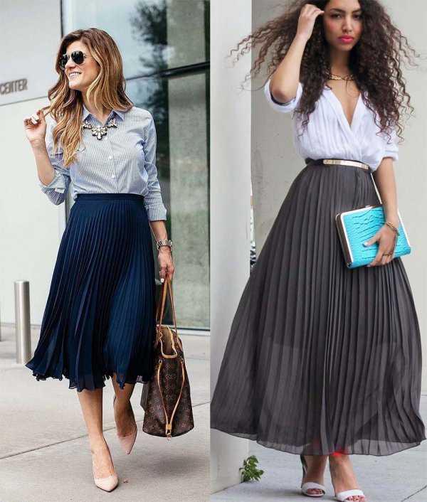 Плиссированная юбка с рубашкой и блузкой