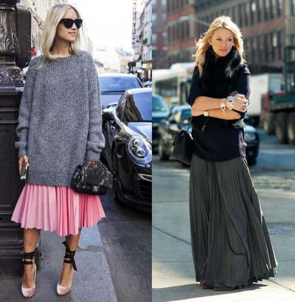 Плиссированная юбка и длинный свитер