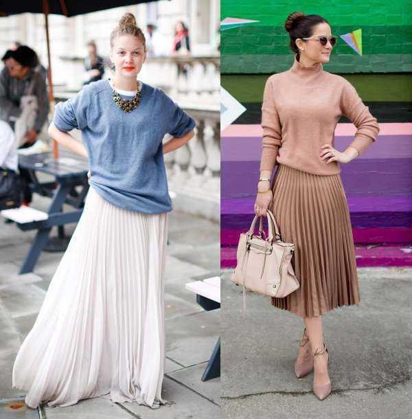 Плиссированная юбка со свитером