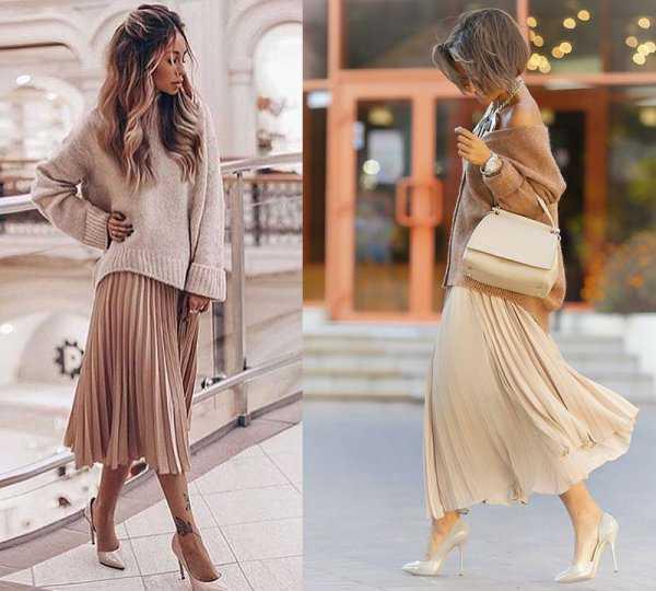 Плиссированная юбка под свитер