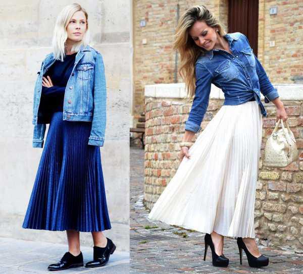 Плиссированная юбка с джинсовкой