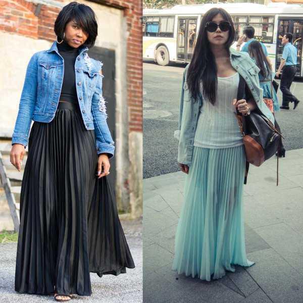 Плиссированная юбка с джинсовой курткой