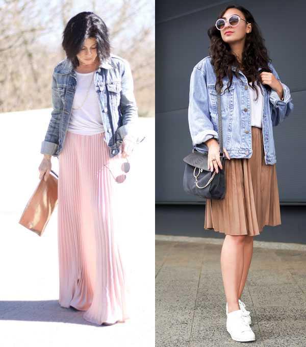 Плиссированная юбка и джинсовая куртка