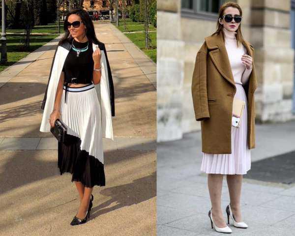 Плиссированная юбка и пальто