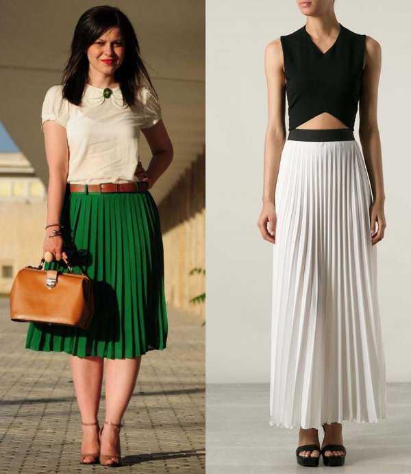 Плиссированная юбка с контрастным поясом