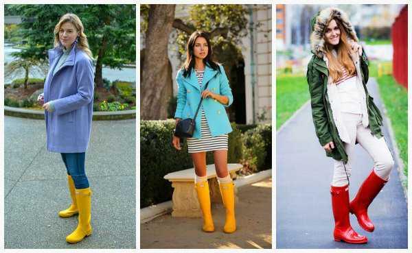 Цветные резиновые сапоги с яркой верхней одеждой
